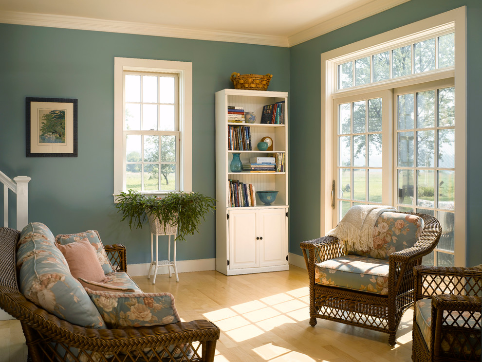 Handsome-Family-Room-Farmhouse-design-ideas-for-Teal-Blue-Paint-Image-Gallery